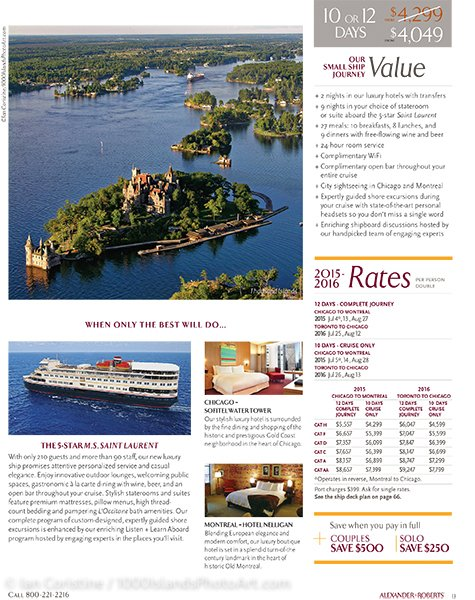 Clients Page from Great Lakes tour